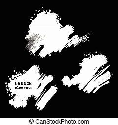 Vector set of black brush strokes.