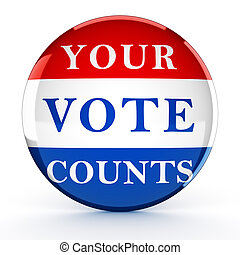 Vote button with Your Vote Counts - 3d rendering