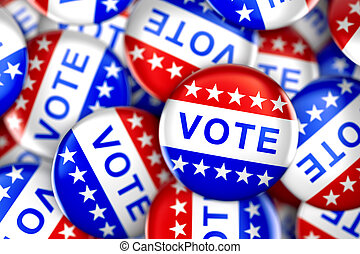 Vote button in red, white, and blue with stars