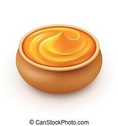 Ceramic Pot of dense Amber Honey Close up Isolated on White Background
