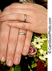 Wedding hands with rings and flowers