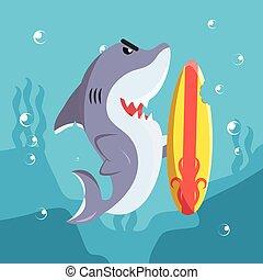shark with surfer bitten