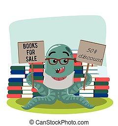 octopus monster selling books