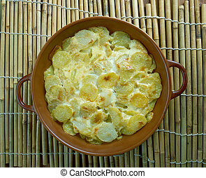 Pommes Anna classic French dish of sliced, layered potatoes...