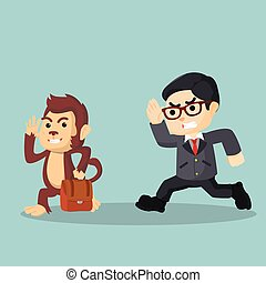 monkey stealing bag from businessman