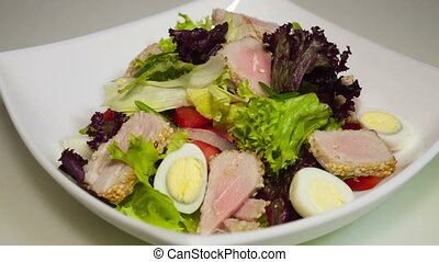 tuna salad in the dish - tuna salad in the white dish