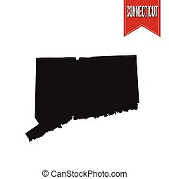 Map of Connecticut on white background, vector illustration
