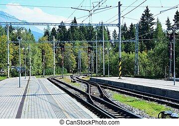 Strbske pleso railway station - Empty platforms without...