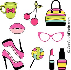 Vector icons of glamor stickers and labeles