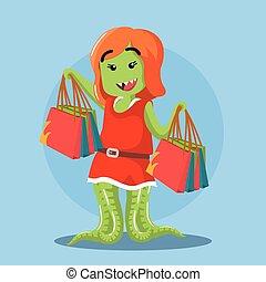 female monster shopping
