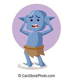 blue monster panic vector illustration design