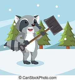 raccoon shoveling snowdrift vector illustration design
