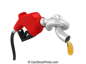 Gas Pump Nozzle with Knot isolated on white background 3D...