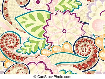 Seamless pattern with stylized flowers. Ethnic background. -...