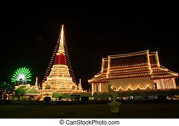Light of Phra Samut Chedi Pagoda in Thailand. - Phra Samut...