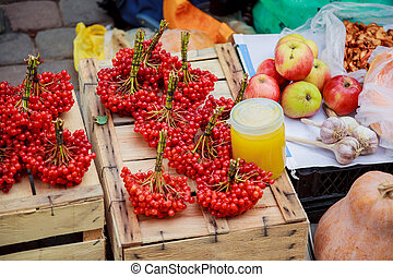 Fresh fruit and vegetables. sale on the market cranberry...