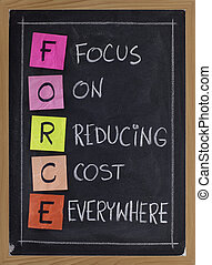 focus on reducing cost everywhere - FORCE acronym (focus on...
