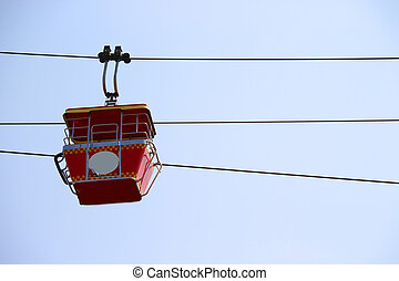 Cable car with blue sky background in Dreamworld, Thailand