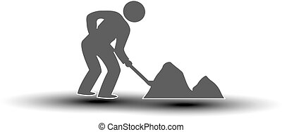 Vector symbol of under construction. Silhouette of man - worker. Icon of laborer throws shovel.