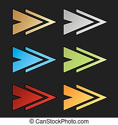 Vector golden, silver, blue, green, red and orange arrow...