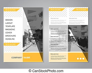 Vector modern brochure with triangle design, abstract flyer...