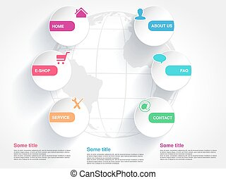 Vector template with globe for web use. Menu button with...