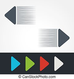 Vector blue, green, red, white and grey speed arrows. Simple...