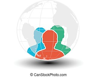 Vector world icon, human symbol. Community of people in the world. Three men silhouettes with globe.
