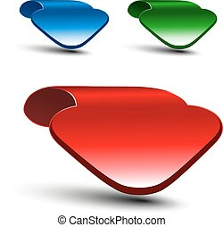 Vector 3d red, green and blue arrow on white background....
