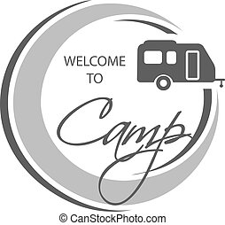 Vector camping icon Circular symbol - Welcome to Camp - with...