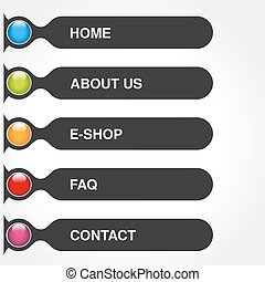 Vector template for web use. Menu rectangle buttons with text of Home, E-shop, Service, About us, FAQ, Contact. Dark gey label. Navigation options. 5 steps on the website.
