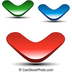 Vector red, green and blue arrow on white background. Simple...