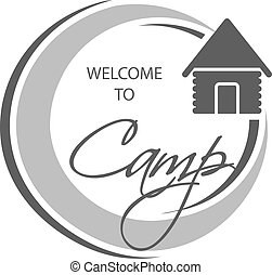 Vector camping icon. Circular symbol - Welcome to Camp -...