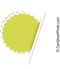 Vector green advertising label. Circular sticker inserted under the white paper page.