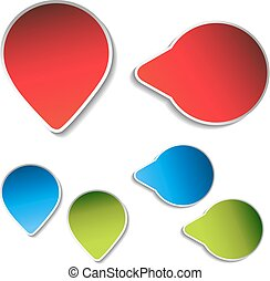 Vector blue, green, red arrow labels on white background....