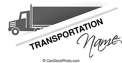 Vector symbol of transport, silhouette of truck, lorry. Design for brand transportation.