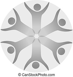 Vector together joined people icon. Grey community symbol....