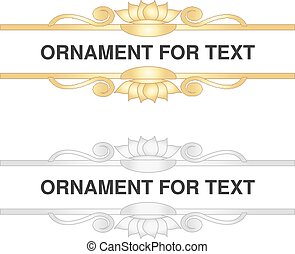 Vector original golden and silver ornament for text on white background. Ornate decorative lines.