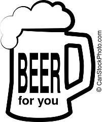 Vector black symbol of beer. Icon full pint of beer with...