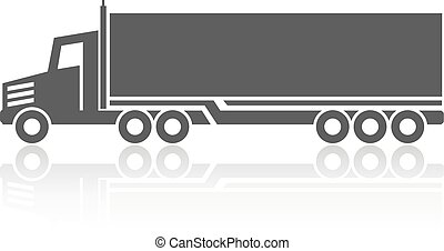 Vector symbol of transport, silhouette of truck, lorry. Monochrome design.
