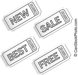 Vector white coupon with text Sale, New, Best, Free. Advertising label for business offer.