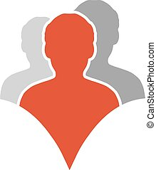 Vector together joined people icon. Red and grey community...