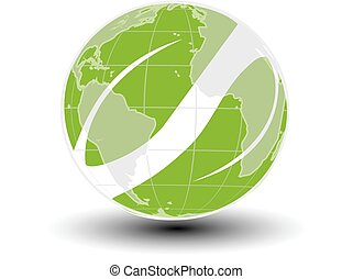 Vector world icon. Green earth and leaf symbol. Go green. Nature symbol.