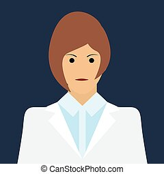 Woman Doctor Icon. Flat Vector - Woman Doctor Icon. Woman...