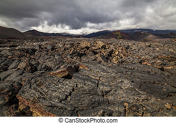 Dramatic views of the volcanic landscape. Kamchatka...