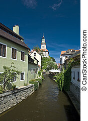 Narrow canal at Cesky Krumlov in Czech republic