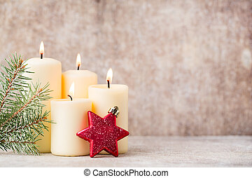 Christmas candles and lights. Christmas background. -...