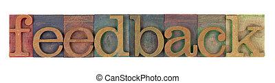 feedback word in vintage wooden letterpress printing blocks,...