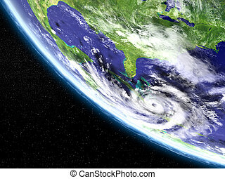 Hurricane satellite view - Huge hurricane in Caribbean...