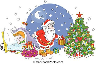 Little child watching Santa - The night before Christmas,...